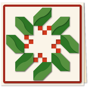 holly checker quilt block 5x5 card