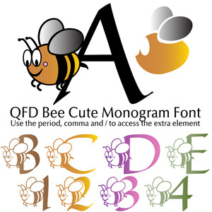 qfd bee cute monogram font