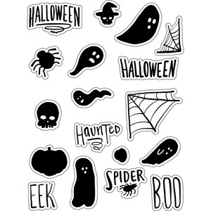 ml black and white haunted stickers