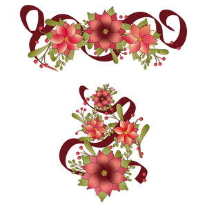 rose-pink poinsettia christmas design