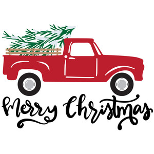 merry christmas vintage truck