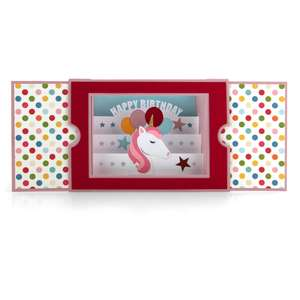 sliding shadow box card birthday unicorn