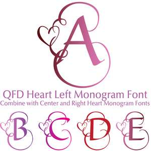qfd heart left monogram font for 3 letter monograms