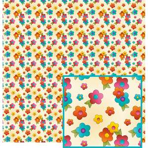 colorful flowers on ecru pattern