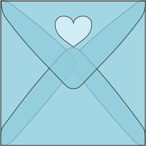 square heart window envelope