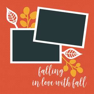 12 x 12 scrapbook layout - fall leaves