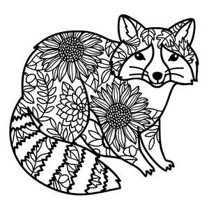 raccoon autumn leaves mandala