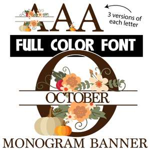 october monogram banner color font