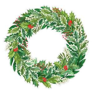 holly christmas wreath watercolor