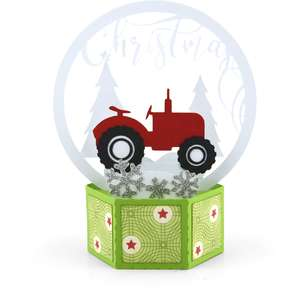 hexagon pop up card tractor