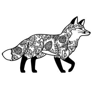 winter fox walking mandala