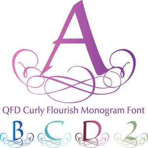 qfd curly flourish monogram font