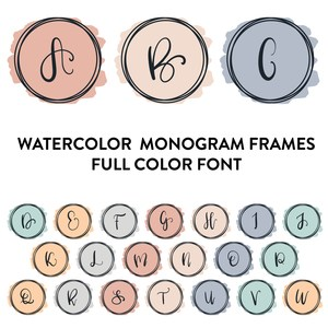 watercolor monogram frames full color font