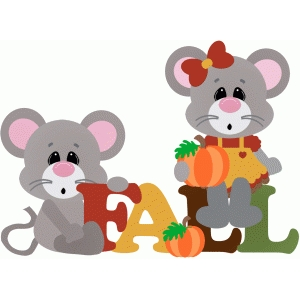 fall title with mice & pumpkins