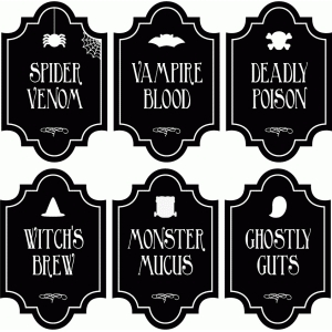 spooky drink labels