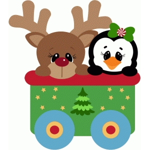 santa train car with rudy and penguin