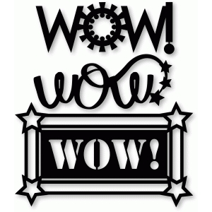 wow! word art cog wheel, star tail, stencil