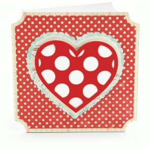 square layered heart card