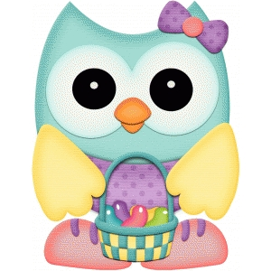 easter owl w basket of jelly beans pnc