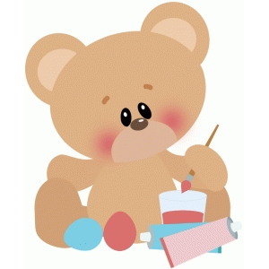 easter bear painting eggs
