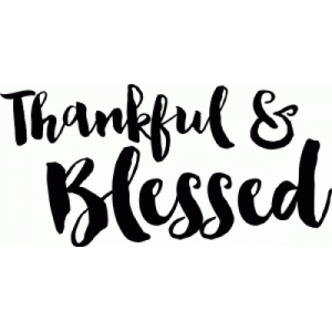 thankful and blessed hand drawn quote