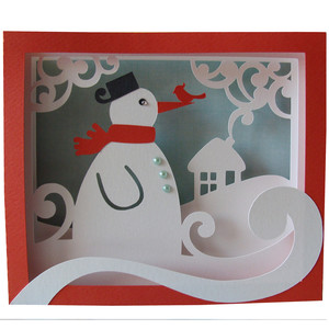 christmas snowman shadow box card