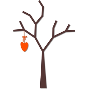 bare tree with dangling heart