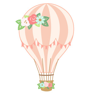 hot air balloon - floral