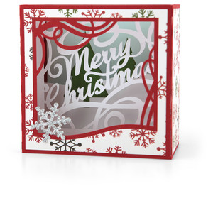 shadow box card merry christmas