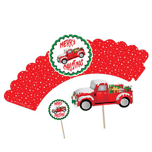 red truck christmas cupcake wrapper & topper