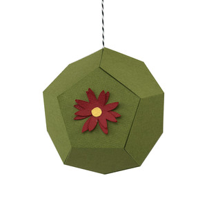 poinsettia hexagon ornament