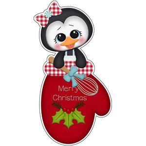 baking for santa penguin in oven mitt sticker / die cut