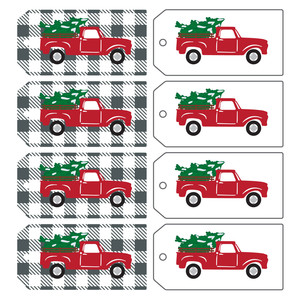 red truck print and cut tags