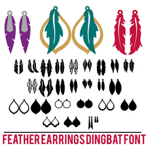 feather earrings dingbat font