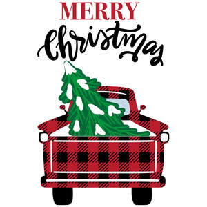 buffalo plaid red truck print and cut
