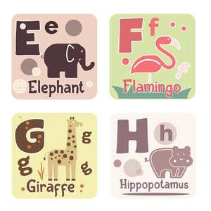 animal alphabet cards e to h