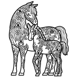 mother horse and foal floral mandala