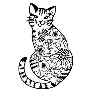 tabby cat flower mandala