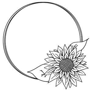 sunflower circle sketch frame