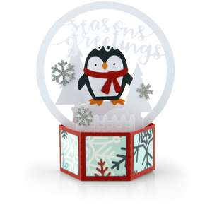3d snow globe card penguin