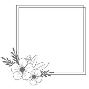 square flower monogram frame