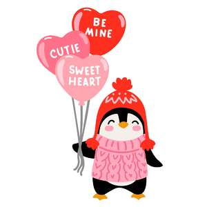 valentine's day penguin with heart balloons