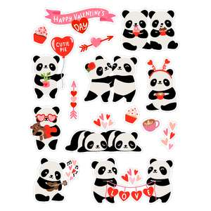 valentine's day kawaii panda stickers