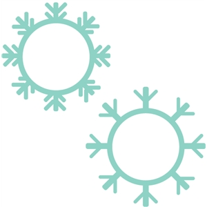 set of 2 snowflake frames