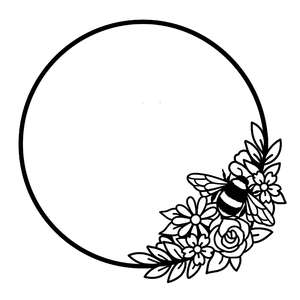bee and flower circle frame