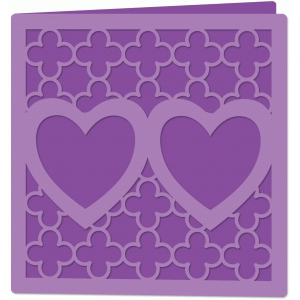 quatrefoil double heart card