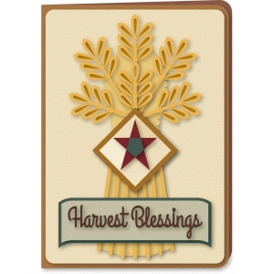 wheat sheaf 5x7 harvest blessings card