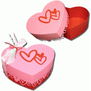 3d heart sided heart box