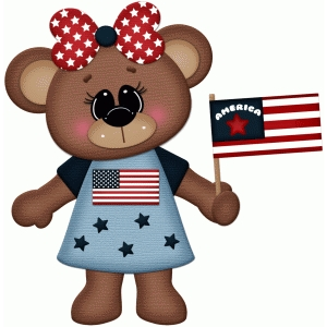 patriotic girl bear holding flag pnc