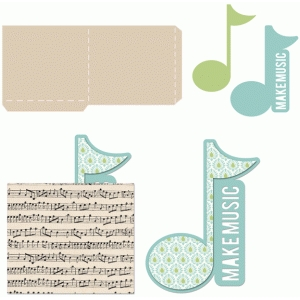 music note tag with sleeve